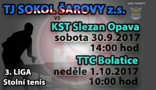 """TJ Sokol Šarovy """"A"""" - KST Slezan Opava """"A"""", TTC Bolatice """"A"""""""