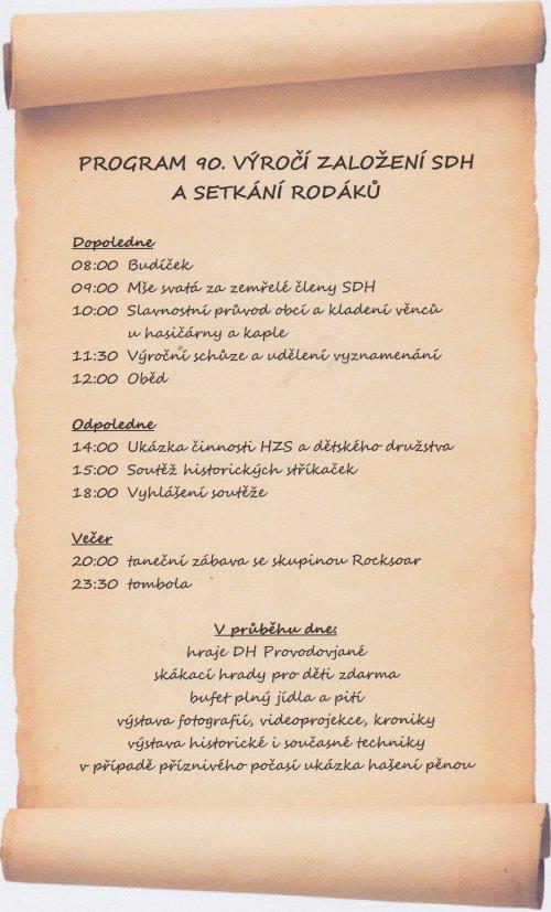 Program oslav 90. výročí založení SDH a setkání rodáků